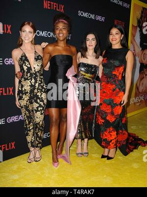 Los Angeles, CA, USA. 17th Apr, 2019. Brittany Snow, DeWanda Wise, Jennifer Kaytin Robinson, Gina Rodriguez at arrivals for SOMEONE GREAT Premiere on NETFLIX, ArcLight Hollywood, Los Angeles, CA April 17, 2019. Credit: Elizabeth Goodenough/Everett Collection/Alamy Live News - Stock Image