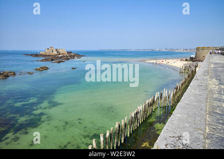 Looking out over the walls of St Malo, Brittany, France - Stock Image