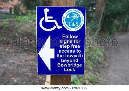 Step free access route for wheelchair users to take alongside the Thames & Severn Canal towpath in Stroud, Gloucestershire, UK. - Stock Image
