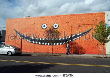 Large scale mural in Stark Street, in Portland, Oregon, USA. - Stock Image