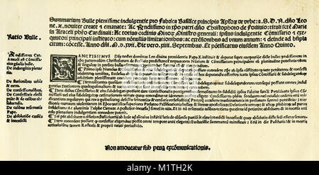 Facsimile of the papal indulgence issued in 1517 that sparked Luther's opposition and the start of the Reformation. - Stock Image