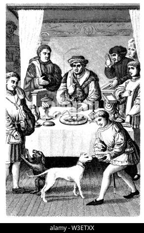 Princely meal around 1480., ,  (cultural history book, 1875) - Stock Image