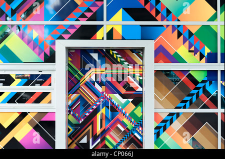 Colorful  abstract art decorated walls and door - Stock Image