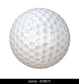 Classic white Golf Ball. Isolated on white background. 3d Render. - Stock Image