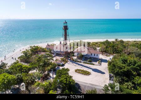 Sanibel Island Florida Gulf of Mexico beach Lighthouse Beach Park Point Ybel San Carlos Bay aerial overhead bird's eye view above - Stock Image