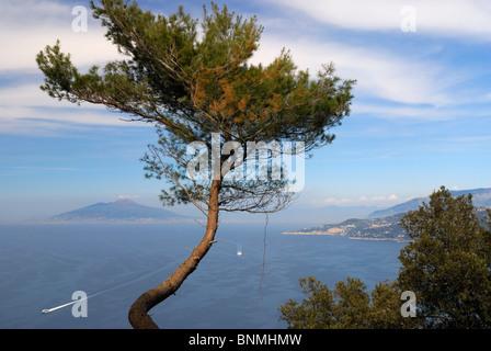 From Capri across the Bay of Naples towards Vesuvius. Italy. - Stock Image