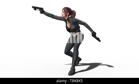 Action girl shooting guns, redhead woman in leather suit with hand weapons isolated on white background, side view, 3D rendering - Stock Image