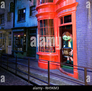 Weasleys' Wizard Wheezes  joke shop  in Diagon Alley. The Making of Harry Potter Tour, Leavesdon - Stock Image