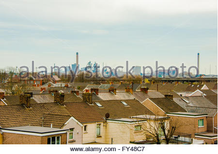 Port Talbot, Wales, UK 21st April 2016. A grey day over the town of Port Talbot looking at the Tata Steel Works - Stock Image
