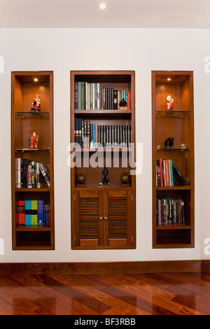 Book shelf in a living room - Stock Image