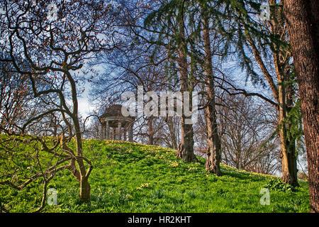 Temple of Aeolus in spring, Royal Botanic Gardens, Kew, UNESCO World Heritage Site, London, England, United Kingdom, - Stock Image