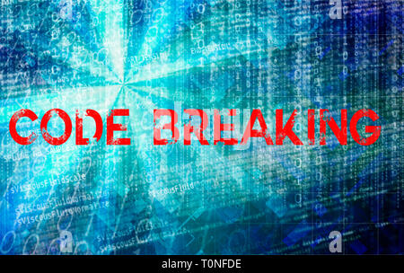 computer code breaking and hacking concept - Stock Image