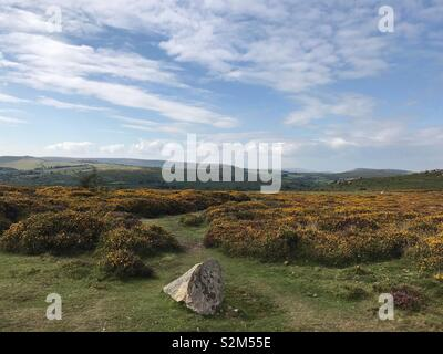 Moorland trail leading out through Dartmoor National Park, with large stone in foreground. - Stock Image