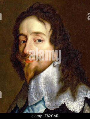 Charles I (1600-1649), portrait (detail), style of Sir Anthony van Dyck, after 1638 - Stock Image
