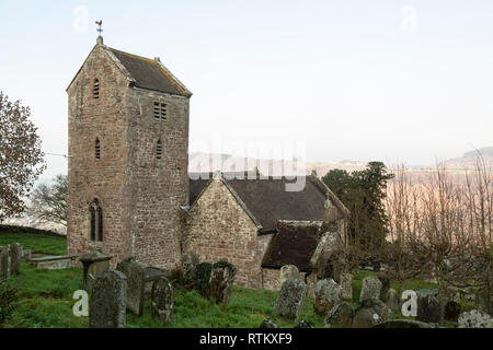 'The Old Church', Penallt, Monmouthshire, overlooking the Wye Valley.  Mostly dating from the 13th century. - Stock Image