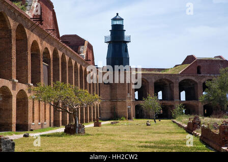 Dry Tortugas National Park - Lighthouse - Bastion C-Fort Jefferson-Interior View of Fort Jefferson grounds - Stock Image