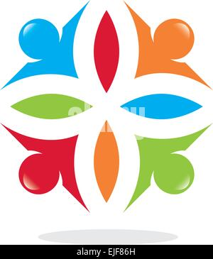 Teamwork, cooperation and people. People Connected Symbols. - Stock Image
