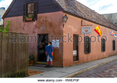 Spanish Military Hospital Museum on Aviles Street in the historic district of Saint Augustine, Florida USA - Stock Image