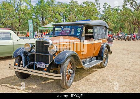 1927 Dodge 3.7 liter, 4 cylinder,24.8 hp cabriolet car on display near Tamworth Australia. - Stock Image