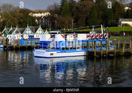 Silverholme, cruise ship of the Windermere Lake Cruises company, Bowness on Windermere, Lake District, Cumbria, England - Stock Image