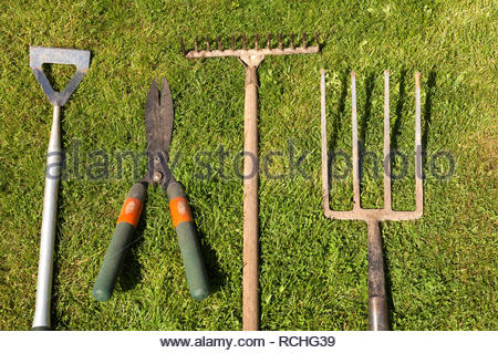 Old and used gardening tools lined up - Stock Image