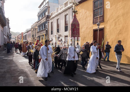 Tenerife, Canary Islands, celebrants lead  the Palm Sunday Holy Week procession in the town of Laguna. - Stock Image