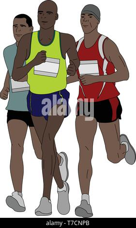 group of marathon runners - vector illustration - Stock Image
