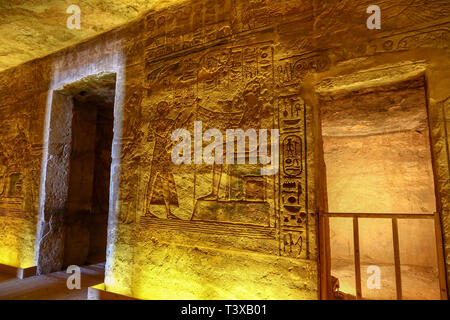 Inside the Abu Simbel Great Temple at Abu Simbel, a village in Nubia, southern Egypt, North Africa - Stock Image