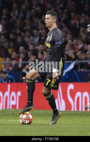 Cristiano Ronaldo during the Atletico Madrid and Juventus match as part of the 16th round of UEFA Champions League at Wanda Metropolitano Stadium in Madrid  Featuring: Cristiano Ronaldo Where: Madrid, Spain When: 20 Feb 2019 Credit: Oscar Gonzalez/WENN.com - Stock Image