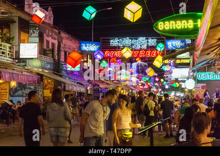 Siem Reap, Cambodia - 15th January 2018:  Colourful bright lights, Pub Street. The area is popular with tourists. - Stock Image