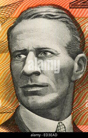 Charles Kingsford Smith (1897-1935) on 20 Dollars 1974 banknote from Australia. Early Australian aviator. - Stock Image