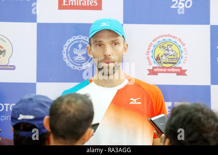 Pune, India. 1st January 2019. Ivo Karlovic of Croatia speaks to the press after winning the first round of singles competition at Tata Open Maharashtra ATP Tennis tournament in Pune, India. Credit: Karunesh Johri/Alamy Live News - Stock Image