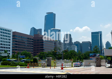 Modern buildings on Yeouido in Seoul in summer in South Korea - Stock Image