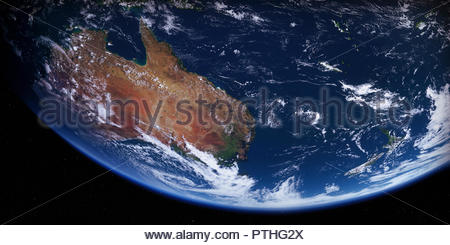 Australia and New Zealand from space - Stock Image