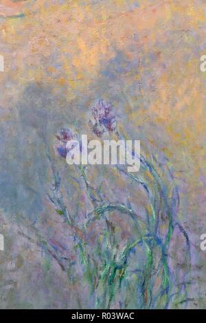 Detail, The Water Lily Pond with Irises, Claude Monet, 1914-1922, Zurich Kunsthaus, Zurich, Switzerland, Europe - Stock Image