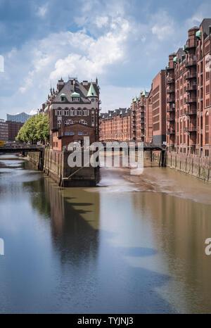 Water Castle (Wasserschloss) building in the historic Warehouse District, Speicherstadt, Hamburg, Germany - Stock Image