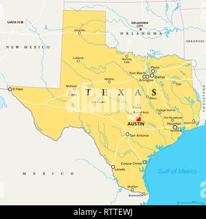 Texas, political map, with capital Austin, borders, important cities, rivers and lakes. State in the South Central region of the United States. - Stock Image