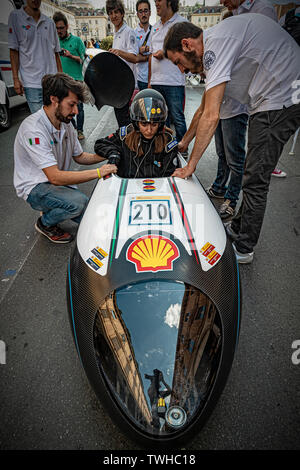Turin, Italy. 20th Jun 2019. Turin Auto Show 2019 - The Polytechnic of Turin in dynamic action with the IDRAkronos - the pilot drives the hydrogen prototype in the street Credit: Realy Easy Star/Alamy Live News - Stock Image