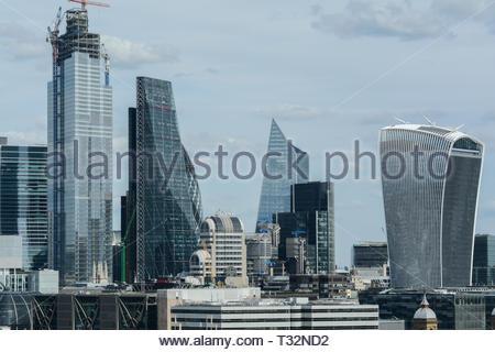 Skyscrapers on the City of London skyline, London, UK - Stock Image