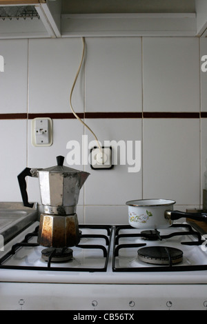 Coffee pot in kitchen - Stock Image