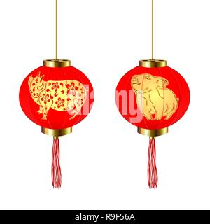 Chinese New Year. Two red round Chinese lanterns with a pig and piglet pattern. illustration - Stock Image