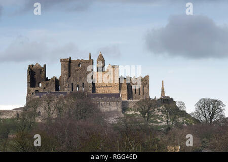 Rock of Cashel on a cold December day. Cashel, Tipperary, Ireland - Stock Image