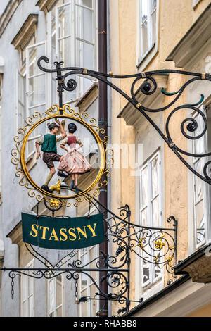 Guild sign, Getreidegasse pedestrian mall, Salzburg, Austria - Stock Image