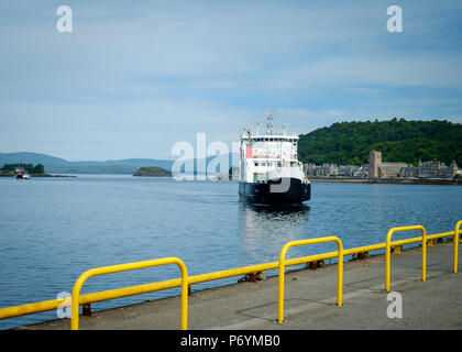 Caledonian MacBrayne ferry MV Coruisk coming in to dock at Oban, Scotland , before sailing to Craignure on the Isle of Mull, June 2018 - Stock Image
