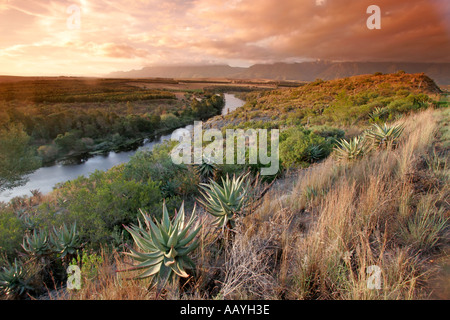 south africa garden route swellendamm valley sunset - Stock Image