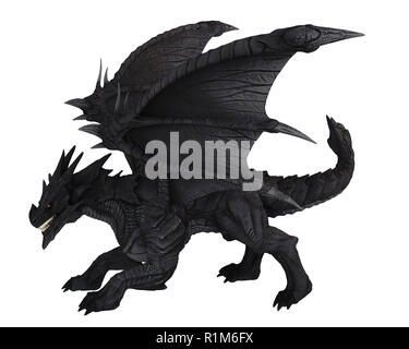 Large Black Dragon - side view - Stock Image