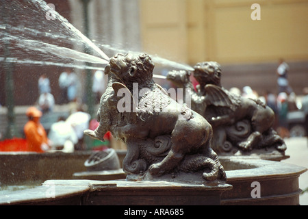 Water Fountain Statues, Plaza de Armas, Peru, Lima - Stock Image