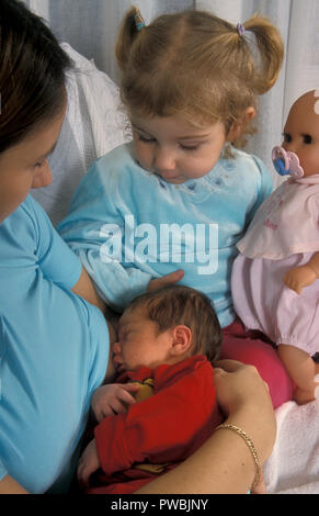 little girl holding her doll while watching mother breastfeed newborn baby - Stock Image