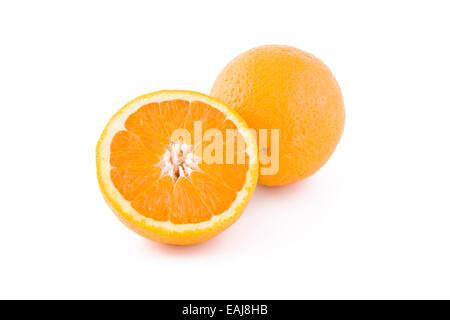 Fresh juicy orange isolated on white background, fruits - Stock Image