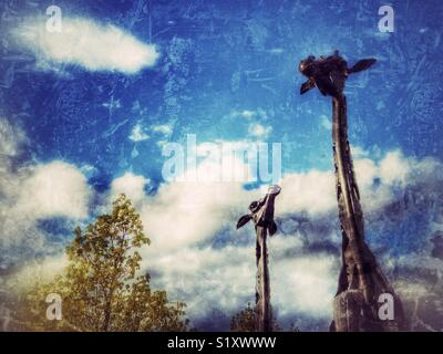 Modern sculpture of Giraffes, city centre, Edinburgh, Scotland, UK - Stock Image